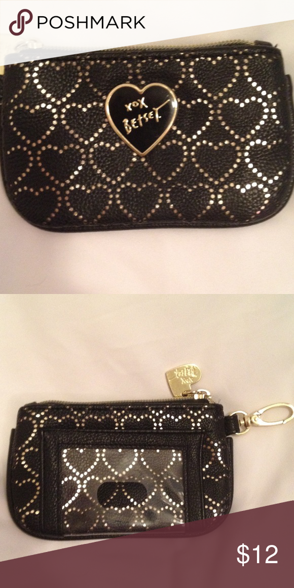 Betsey Johnson coin wallet Black and gold coin wallet. Can connect to your keys Betsey Johnson Bags Wallets