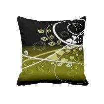Gold, white and black throw pillow