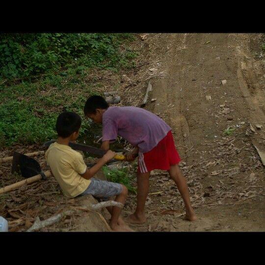 Bonce, Santa Ana, Manabi, Ecuador Little boys with machetes. At ...