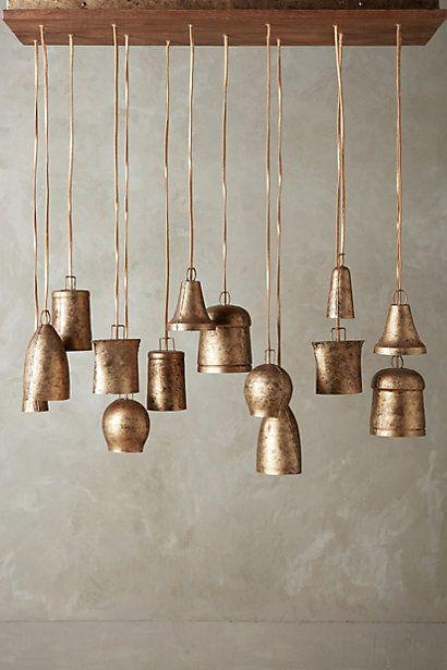 Rustic Campanology Chandelier Fourteen Light Bell Shaped Pendants