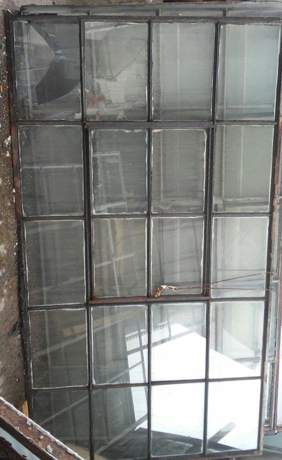 Sliding door glass partition room divider antique factory window