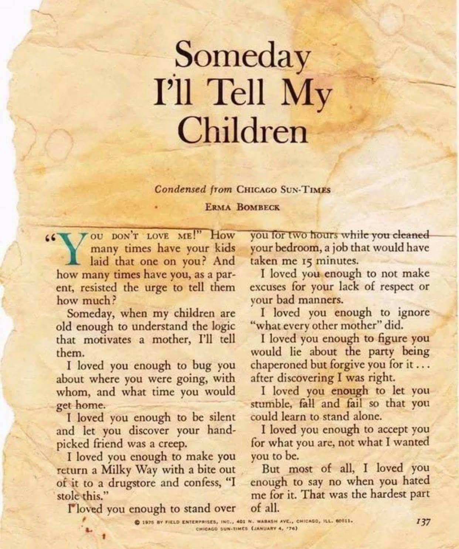 Someday I'll Tell My Children. Erma Bombeck