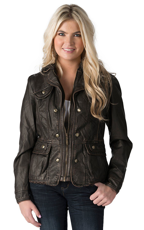 Montanaco Women's Metallic Brown Hooded Faux Leather
