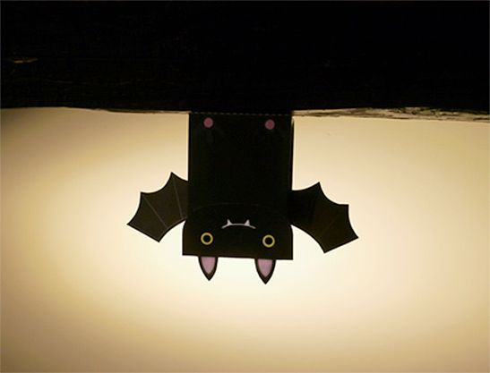 Decorated lunch bags made into spooky bats for a cute Halloween - halloween crafts ideas