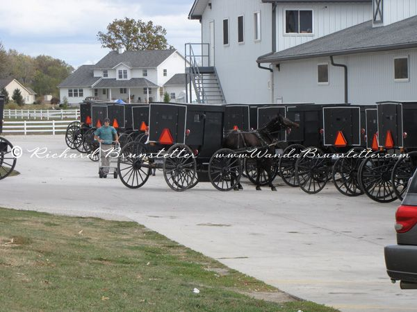 It's always fun to see a line of buggies parked outside an Amish store. This one is in Shipshewana, IN.