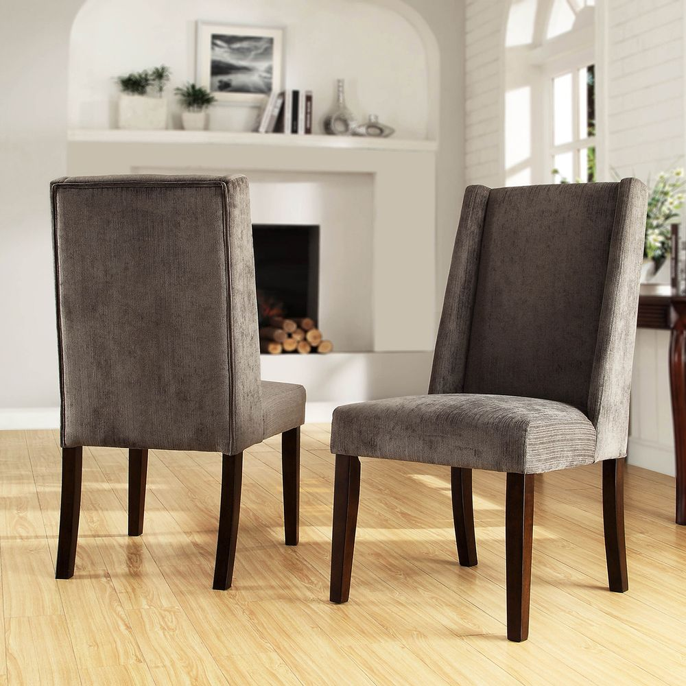 TRIBECCA HOME Ian Grey Chenille Wingback Dining Chair (Set of 2 ...
