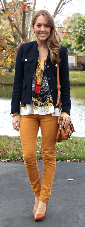 mustard jeans.  yellow jeans.  blue jacket.  floral blouse.  floral top