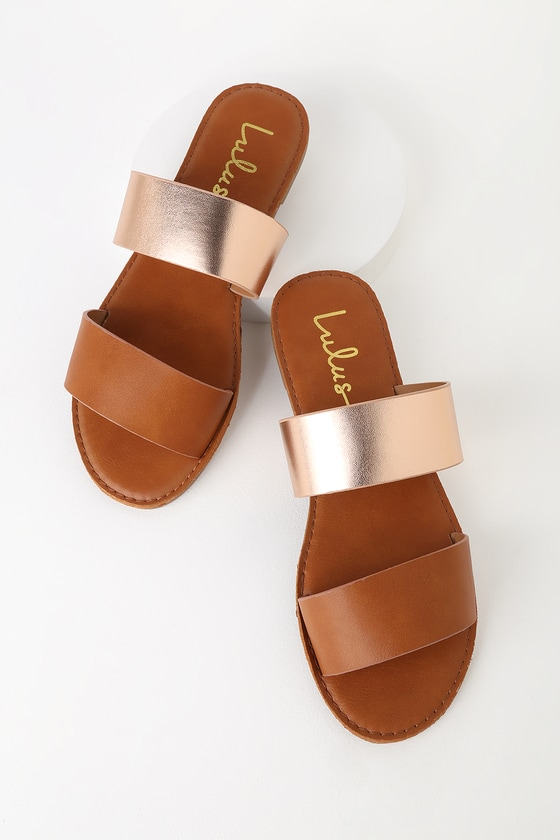 Chill Tan and Rose Gold Slide Sandals
