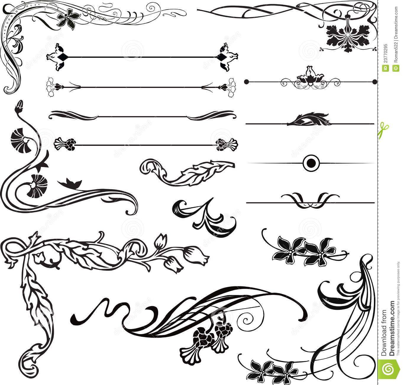 Art deco ornaments - Vector Clipart Of Art Nouveau Corners And Dividers Art Nouveau Ornament Search Clip Art Illustration Drawings And Vector Eps Graphics Images