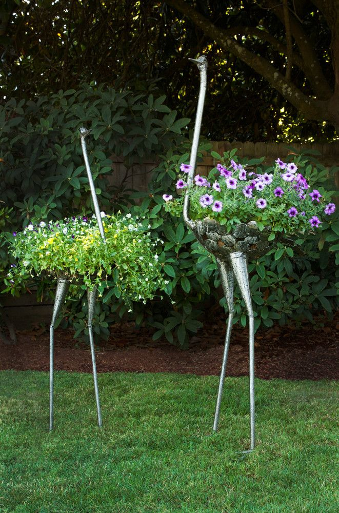 Elegant #GardenArt Not Your Average Plant Container :) Kenyan Recycled Metal  Ostrich Plant Holders.