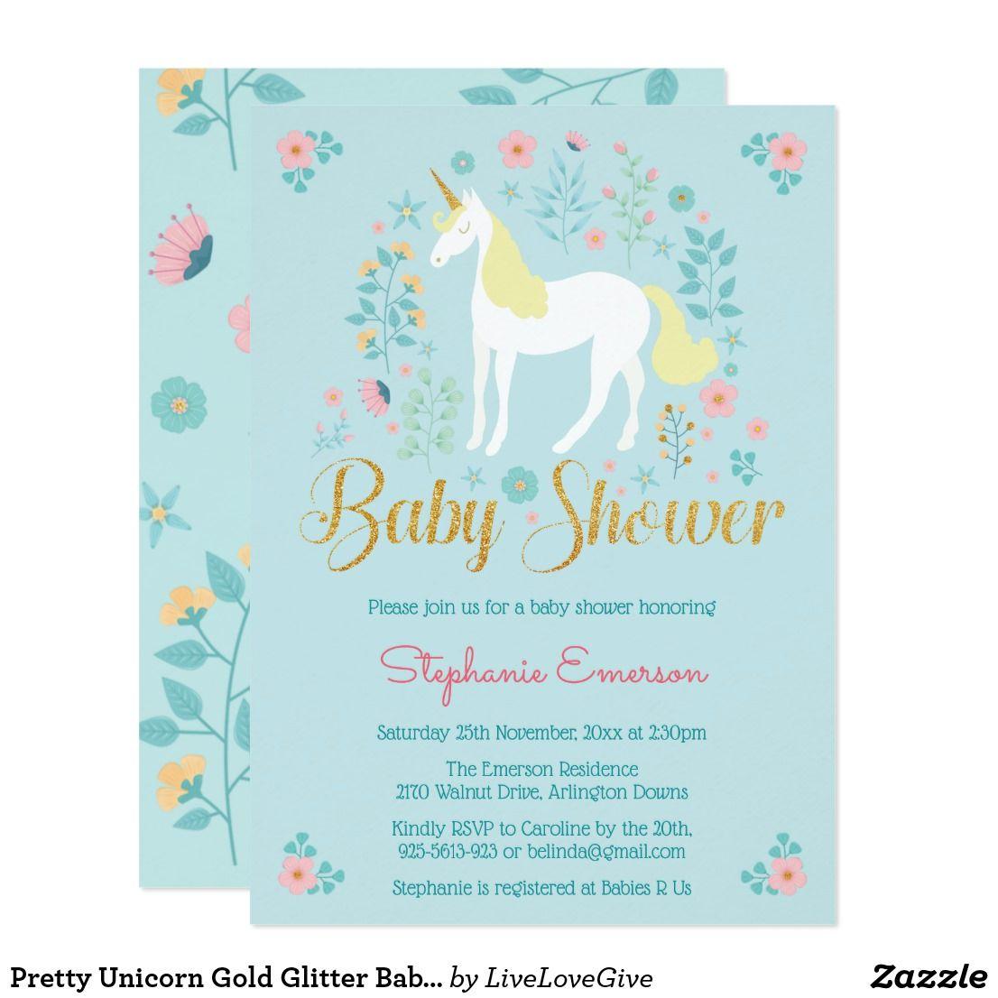 Pretty Unicorn Gold Glitter Baby Shower Invitation