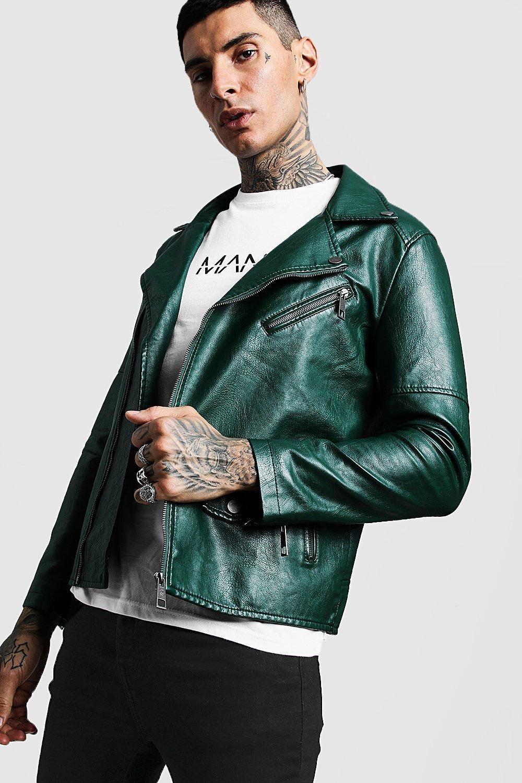 Faux Leather Biker Jacket boohooMAN Мужские джинсовые