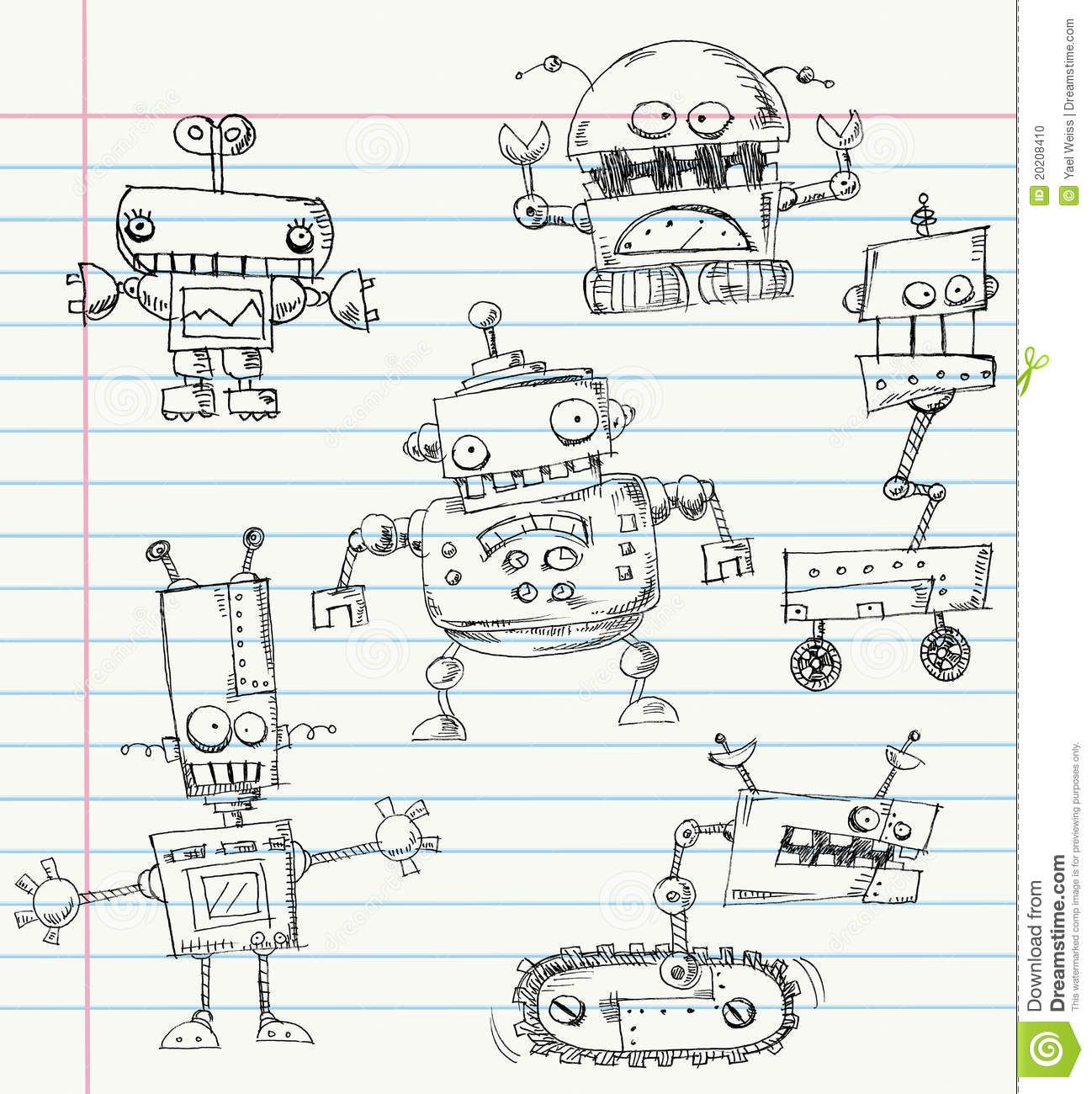 Robot Doodles - Download From Over 54 Million High Quality Stock Photos, Images, Vectors. Sign up for FREE today. Image: 20208410