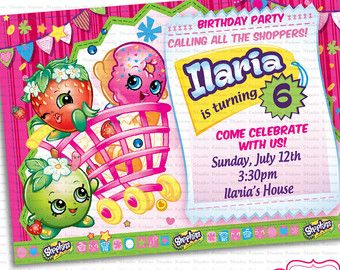 Printable invitation Shopkins Birthday Party by KabooStudio ...