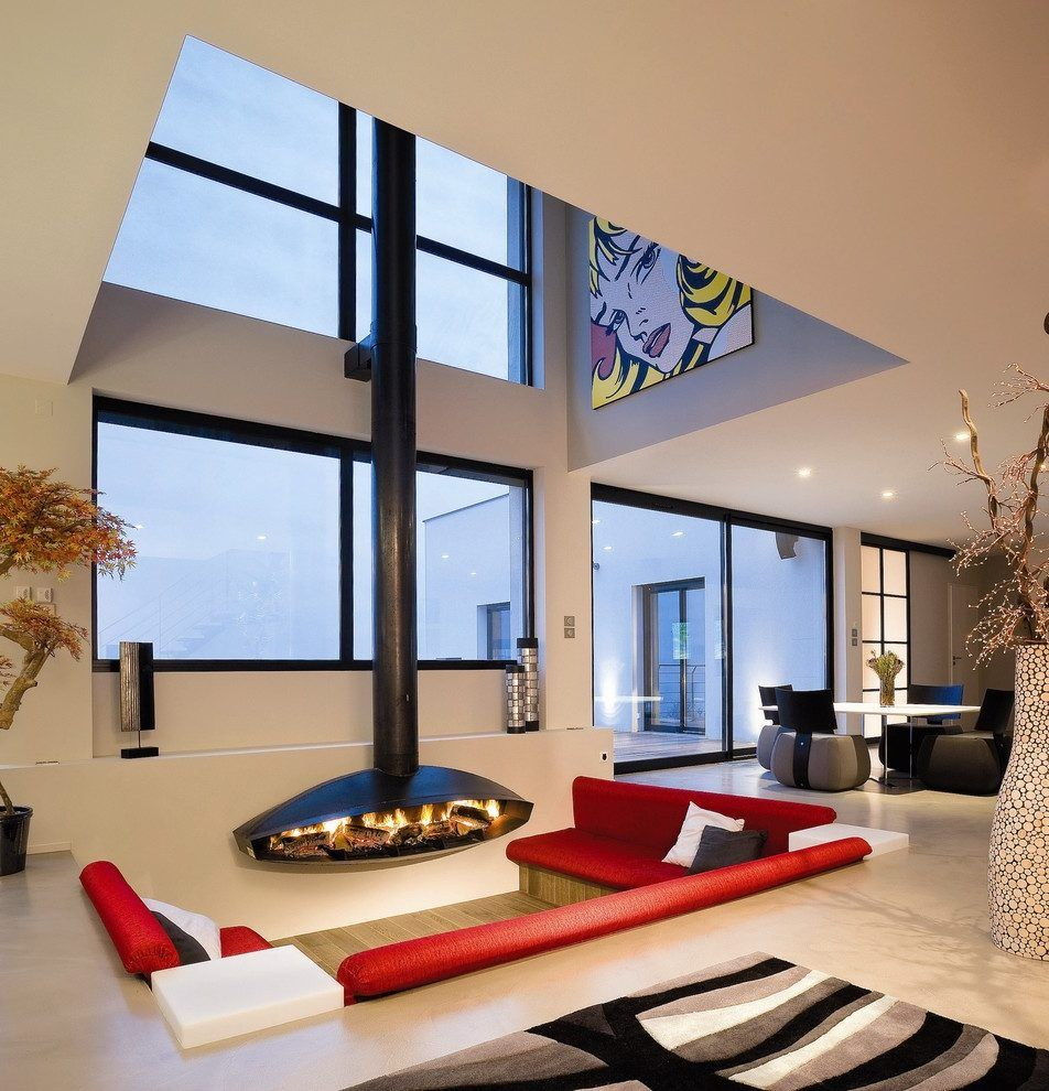 Sunken Living Room Living Room Contemporary With Open Plan
