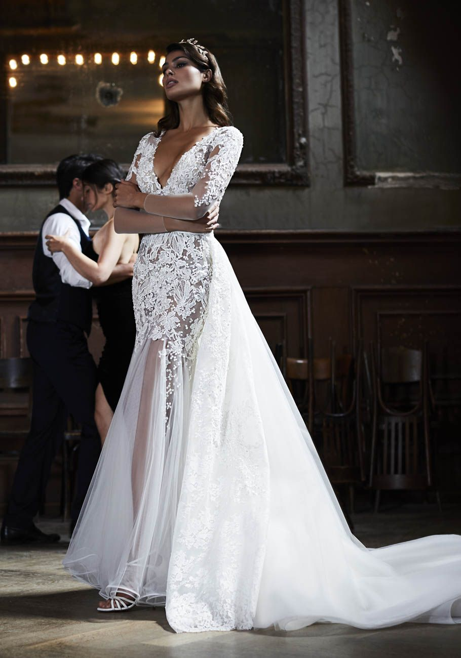 Lace fit and flare wedding dress with sleeves  Lace vneck fit and flare wedding dress with sheer skirt  Maison