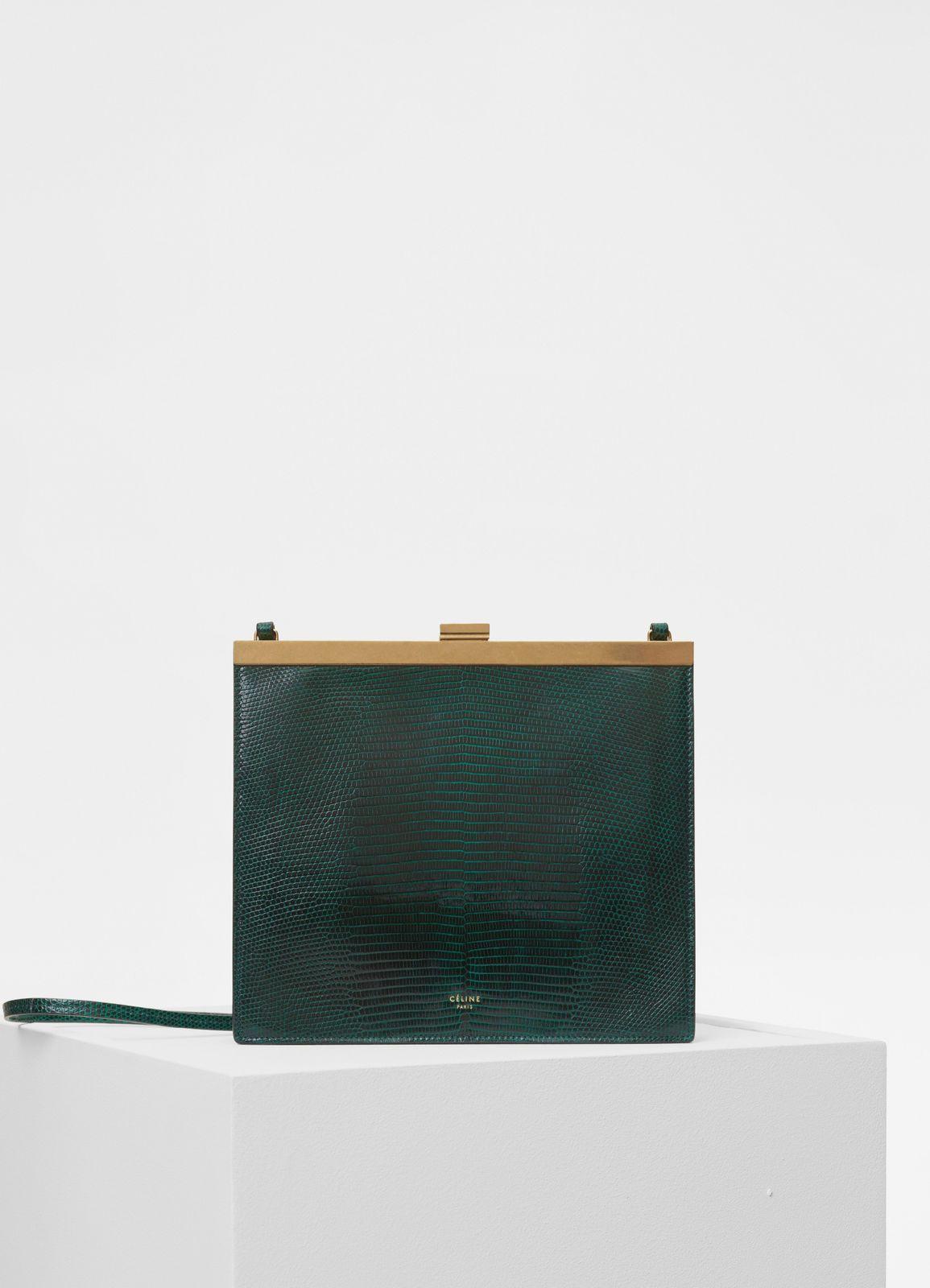 f6d685429e Céline - Mini Clasp bag in dark green lizard