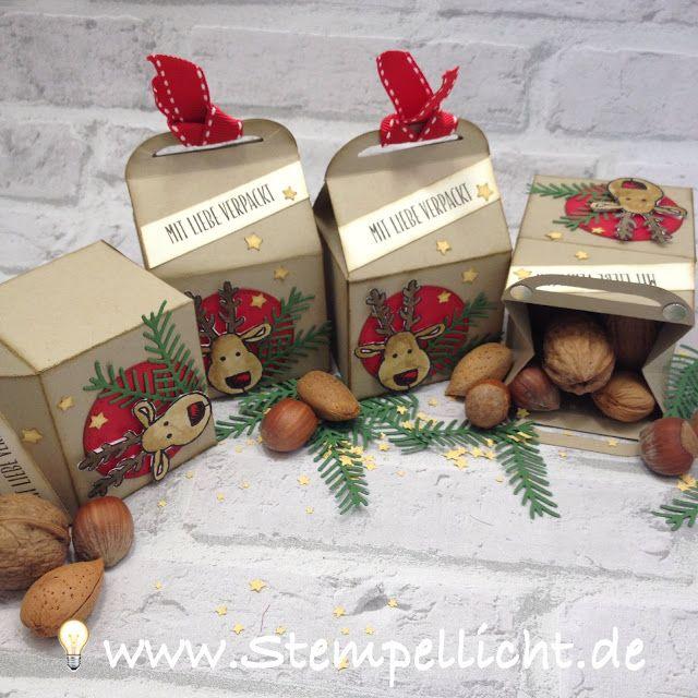 weihnachtliche leckereien box mit rentier aus dem stampin. Black Bedroom Furniture Sets. Home Design Ideas