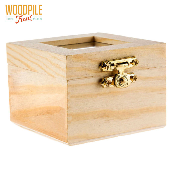 Square Wood Box With Frame Top Wood Boxes Wooden Boxes Shadow Box