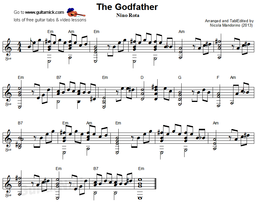 The Godfather Fingerstyle Guitar Sheet Music Guitar Tab