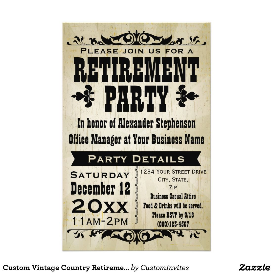 custom vintage country retirement party invitation retirement or