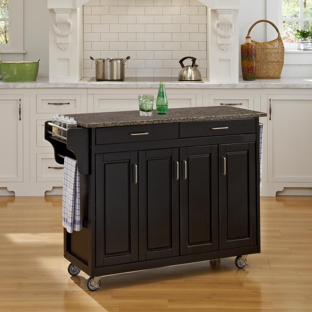 Create-a-Cart 48.75 in. W Quartz Top Kitchen Cart in Black