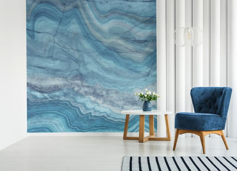 Abstract Blue Marble Adhesive Peel And Stick Wall Mural Etsy In 2020 Wall Murals Mural Wallpaper