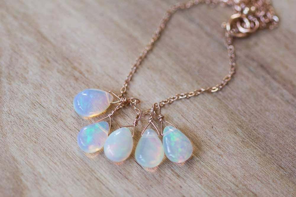 gold Filled Opal Bar Necklace,October Birthstone Necklace,Welo Opal Necklace in Sterling Silver Opal Jewelry,Opal Gemstone Necklace,