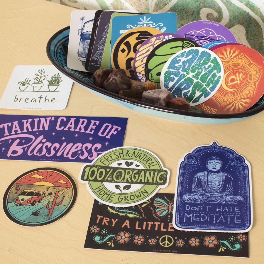 Diy Sticker Display Ideas Soul Flower Blog Hippie Bumper Stickers Hippie Sticker Cool Car Stickers [ 900 x 900 Pixel ]