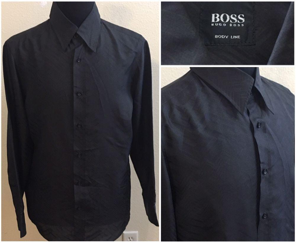 fde5b82f Mens Hugo Boss Body Line 100% Silk Black Dress Shirt Size Large #HUGOBOSS