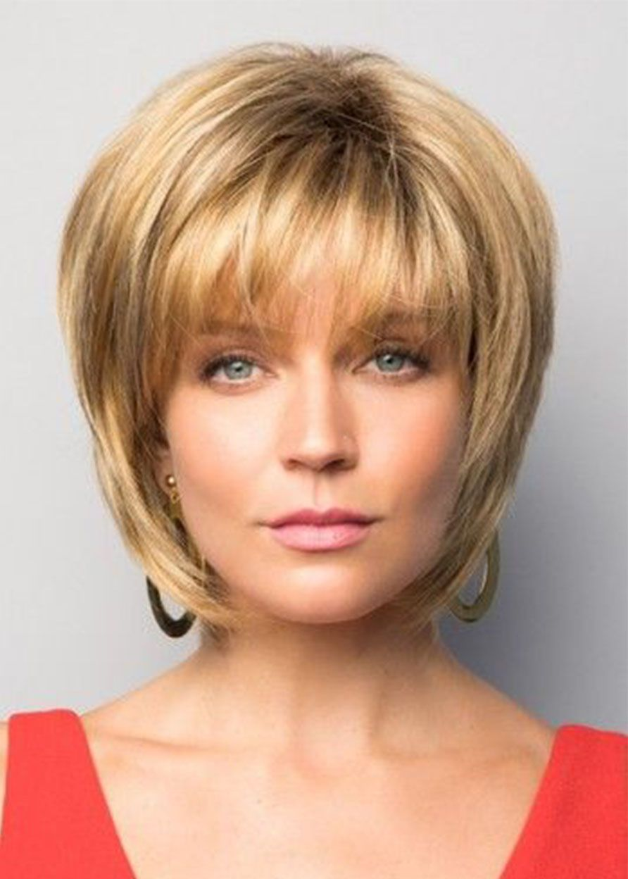 Natural Looking Women S Short Bob Hairstyles Straight Human Hair Wigs With Bangs Lace Front Wigs 10inch Short Bob Hairstyles Womens Short Bob Hairstyles Bob Hairstyles