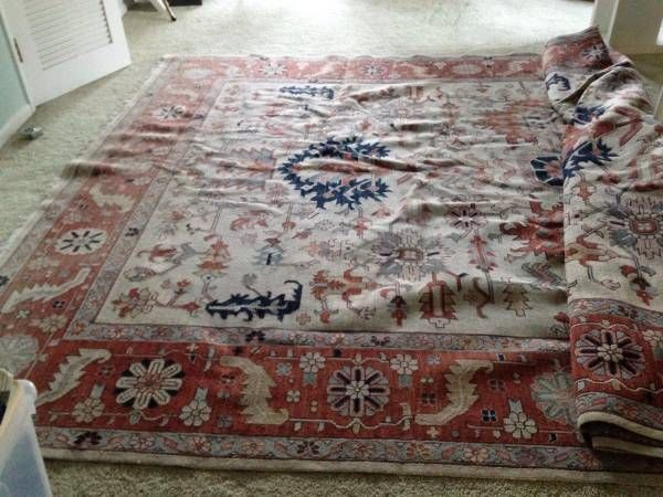 For Sale: Very large, gorgeous vintage Ralph Lauren Home wool area rug. Measures 10x14 and is VERY heavy. In overall good condition, pet free, smoke free home. Has one small snagged area, on the...