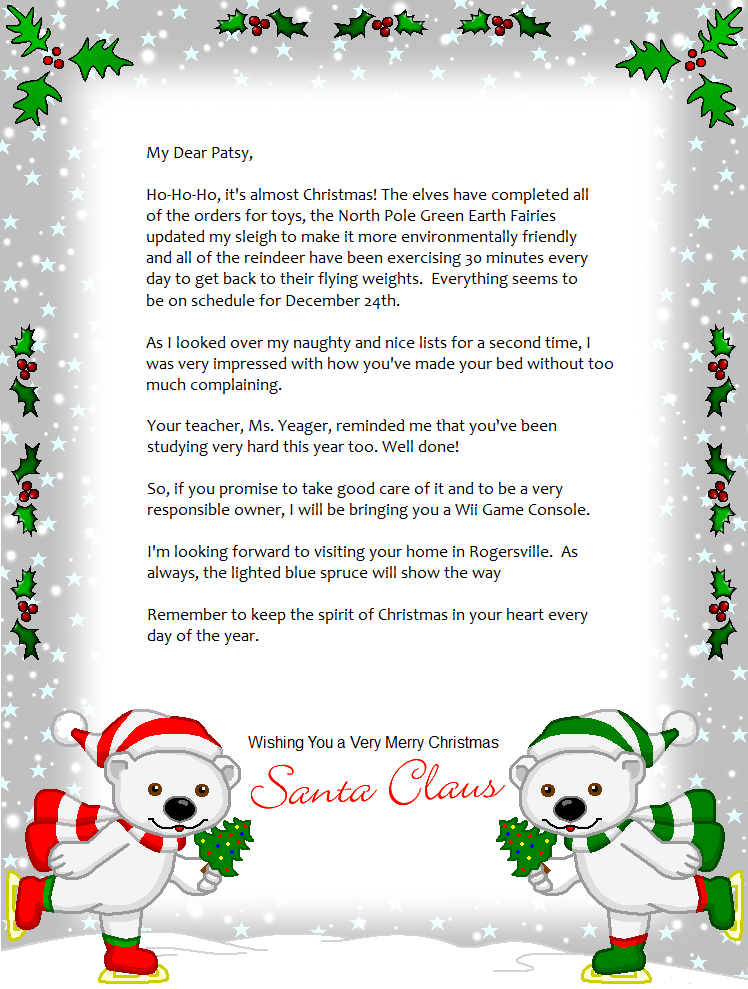 Wild image for letter from santa template printable