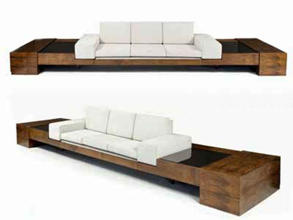 Creative Sofa Design Minds : Jacaranda Sofa With Clear White Sit Pillow And  Wooden Hand Hold For Your Cool Couch