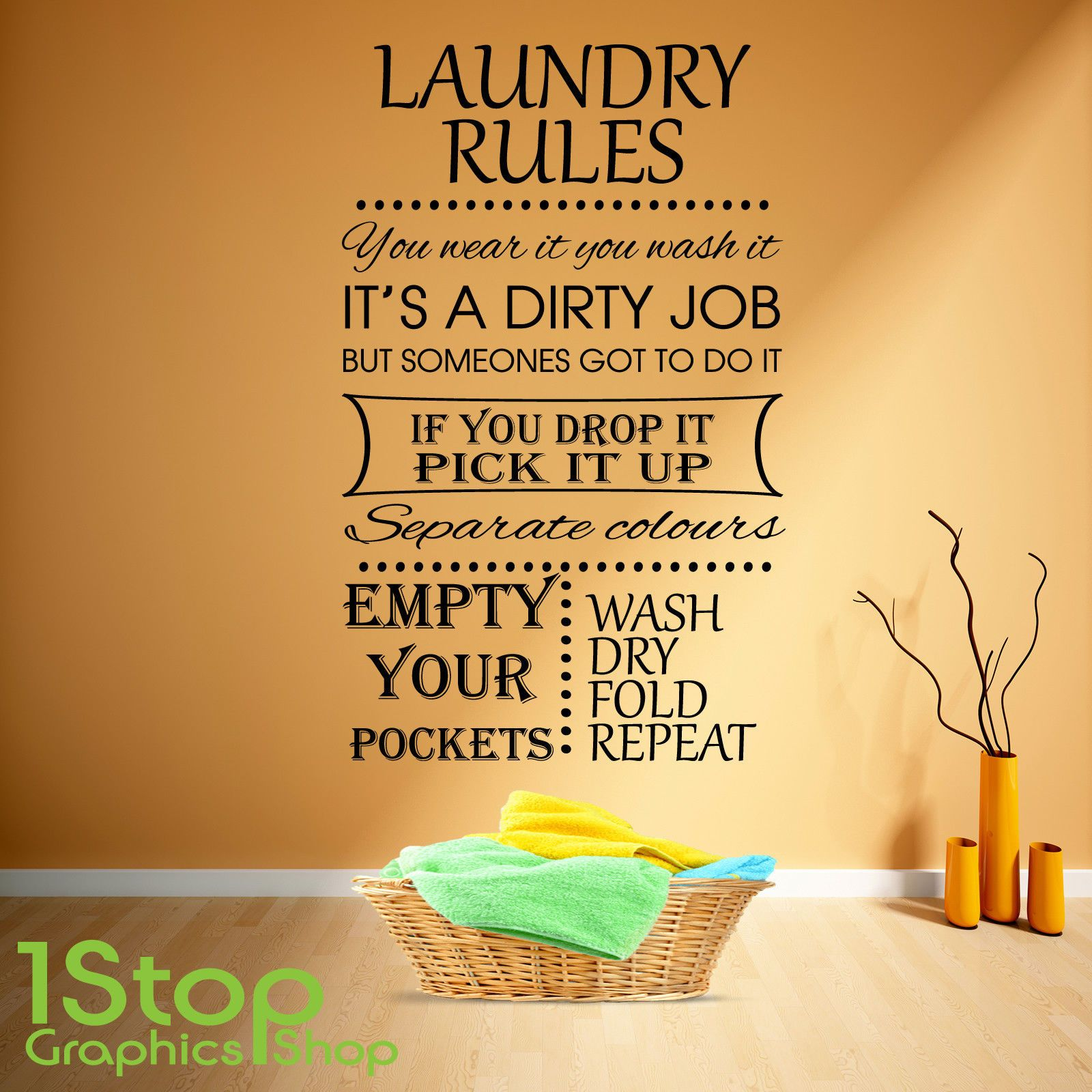 Laundry rules wall sticker quote - kitchen home wall art decal x328 ...