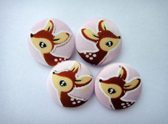 Cute Bambi Deer Baby Pink Japanese Fabric Covered