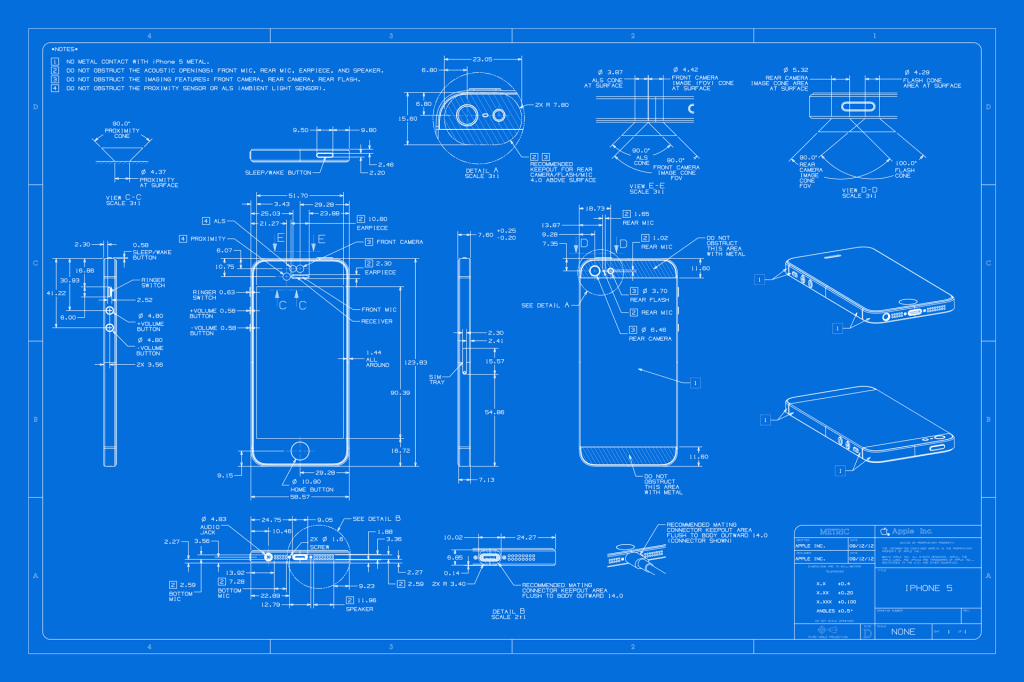 The iphone 5 blueprint blueprintindustrial design pinterest the iphone 5 blueprint malvernweather Choice Image