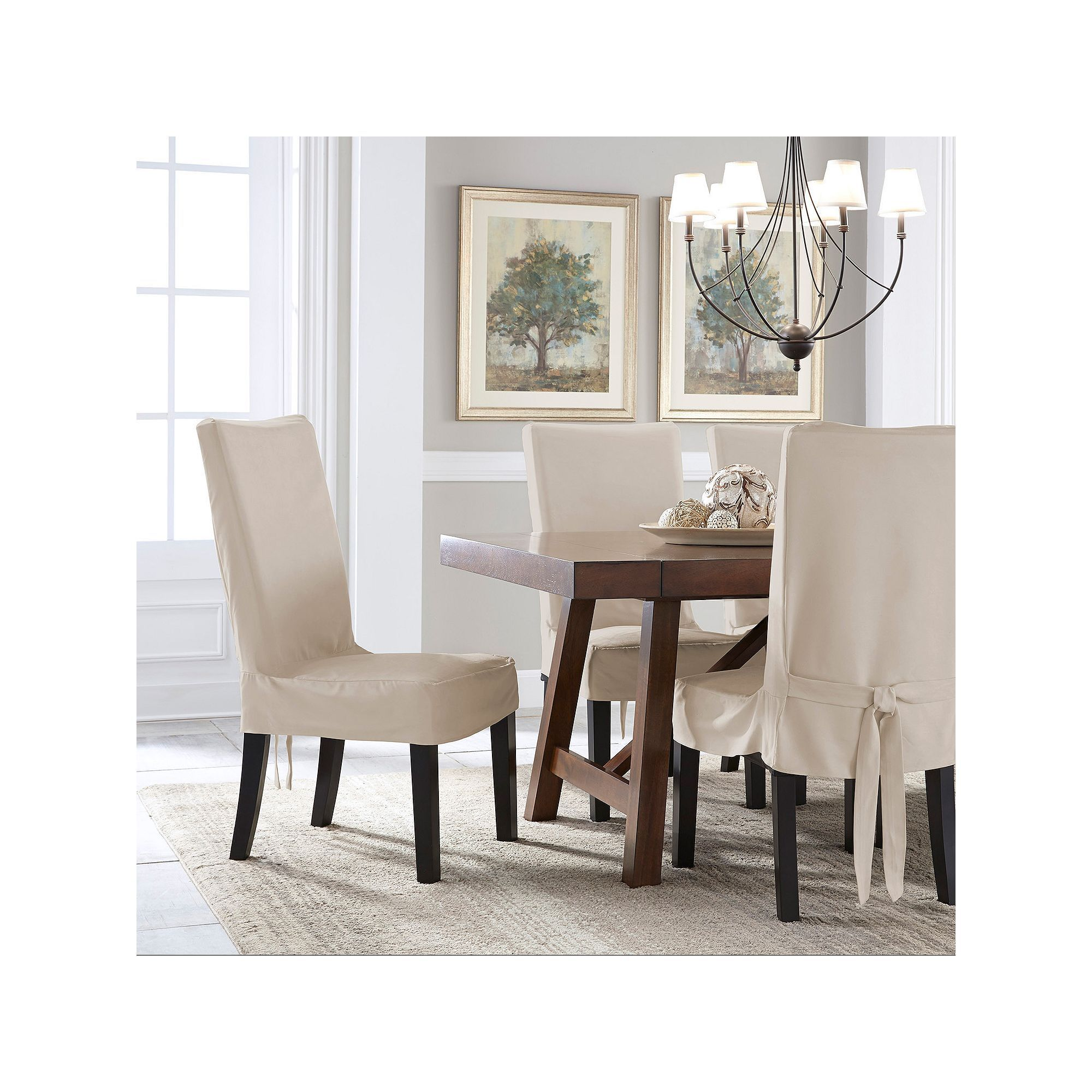 Serta Relaxed Fit Smooth Suede Dining Chair Slipcover | Dining chair ...
