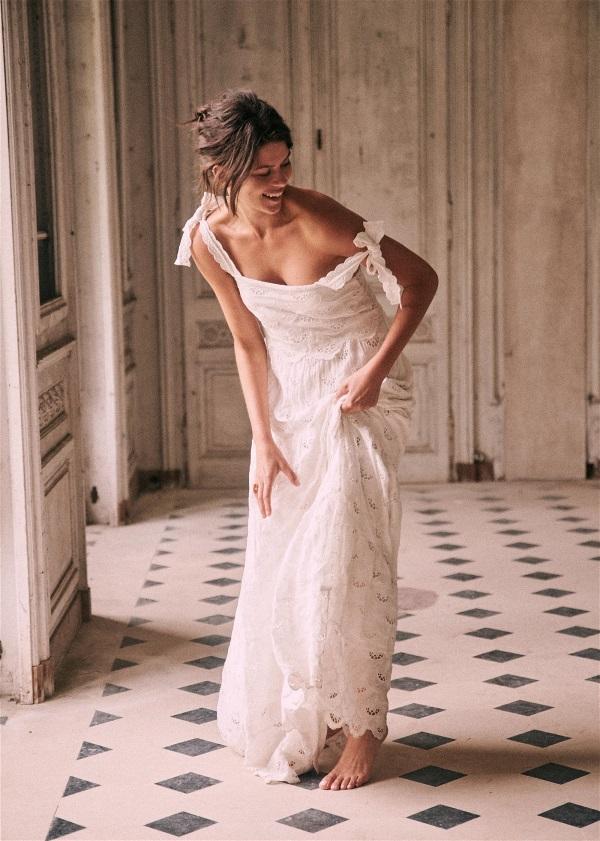 Sézane - Elia Dress White maxi dress with shoulder ties. # ...