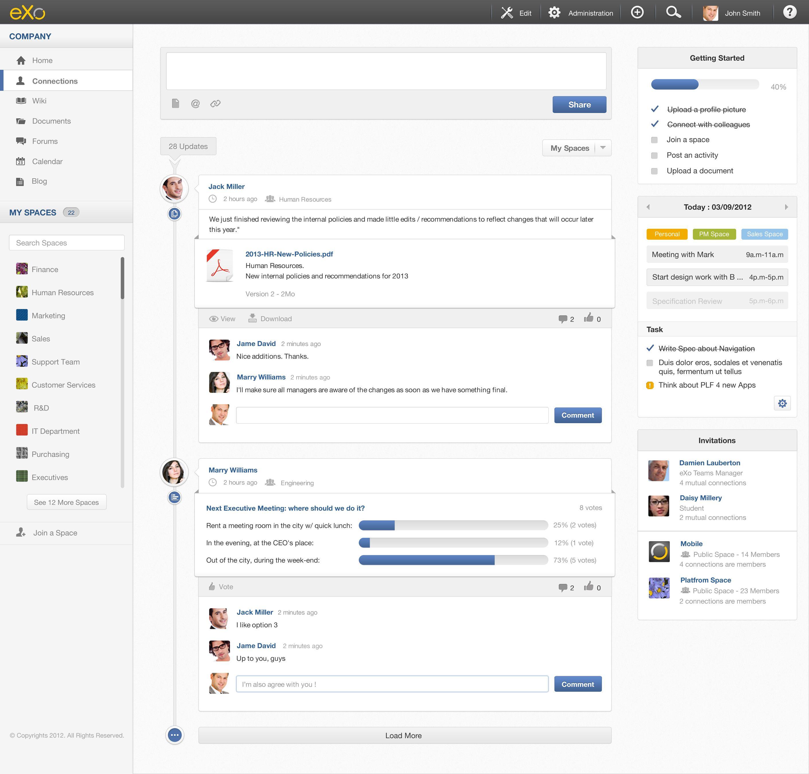 Open Source Enterprise Social Network And Enterprise Portal Timeline Design Exo Platform Web Design