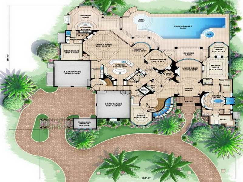 Beach house floor plans design with garden school stuff for Vacation house floor plan