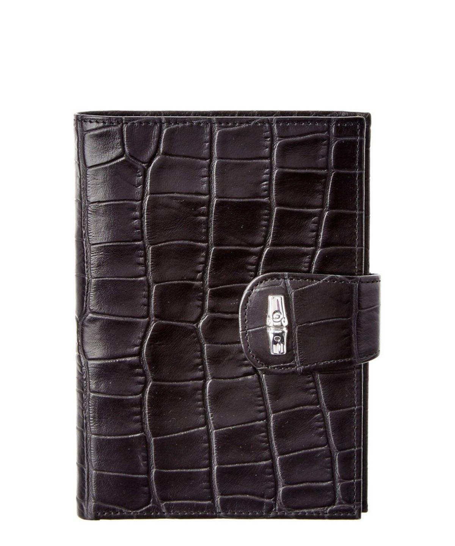 Longchamp Roseau Croc Embossed Leather Wallet In Black Modesens Embossed Leather Leather Wallet Wallet