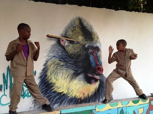 Great baboon by Masai in Jamaica