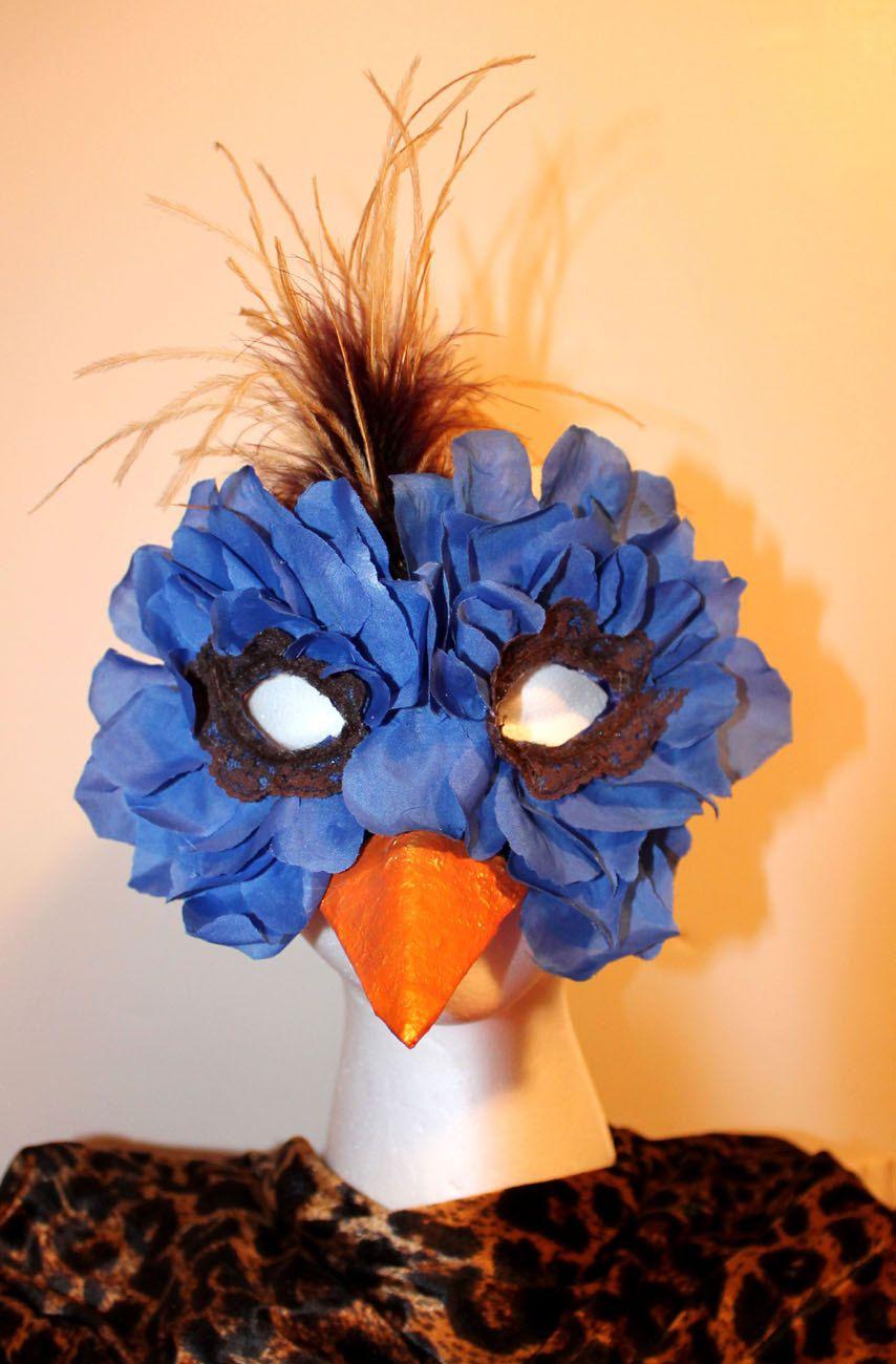 Rose Petal Blue Bird Mask - Halloween Mask - Bird Costume | Rose ...