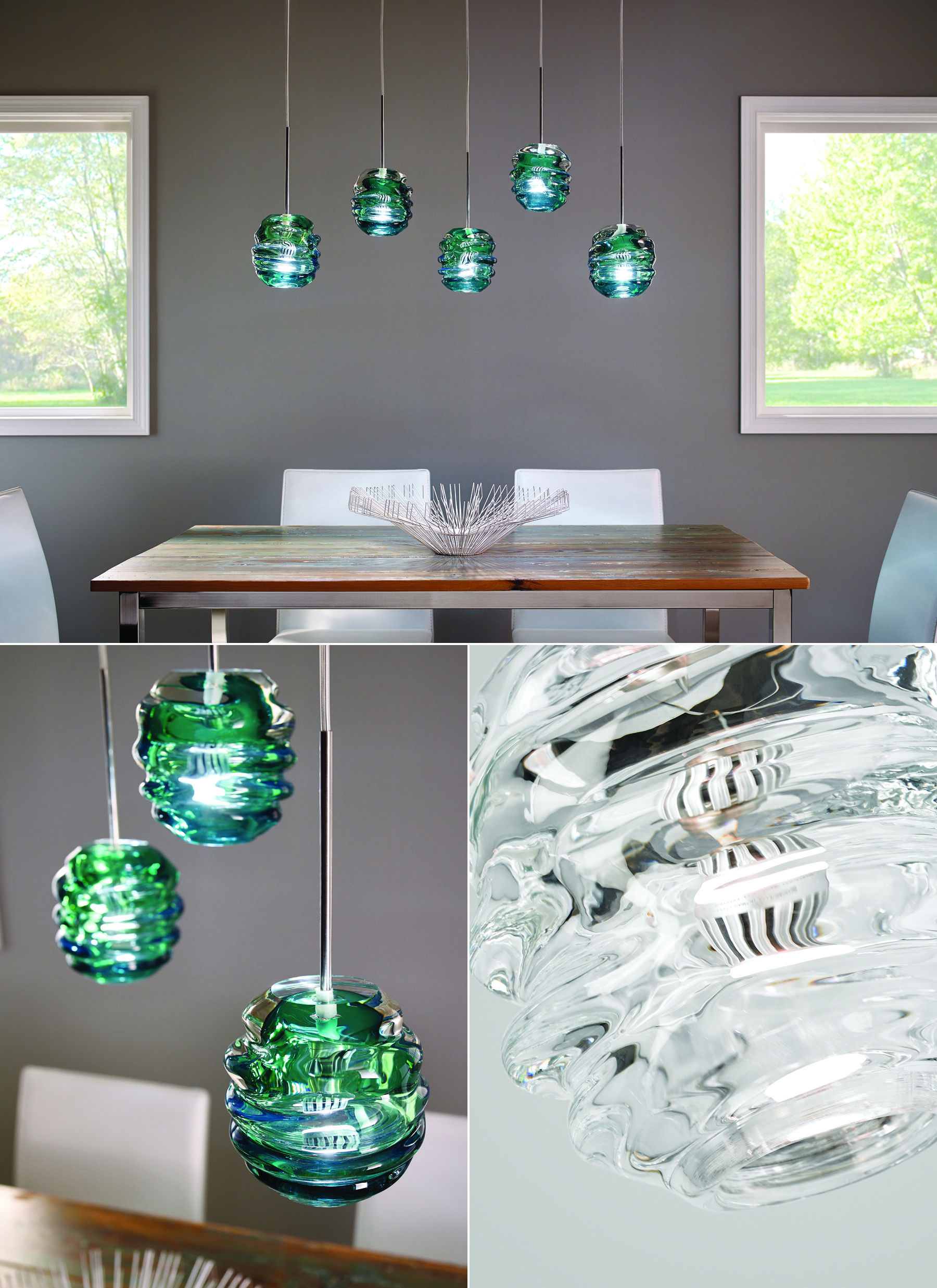 Thick Organic Flowing Glass Of The Audra Pendant Light From Tech Lighting Is Molded By Dining Room