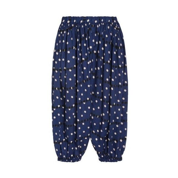 Comme Des Garcons Comme Des Garcons Dotted Tapered Pants (€680) ❤ liked on Polyvore featuring pants, blue, elastic waist pants, elastic waist linen pants, linen pants, blue dot pants and comme des garcons pants