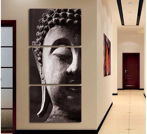 3 Panel Wall Art Religion Buddha Oil Painting On Canvas No Framed Room Panels For Home