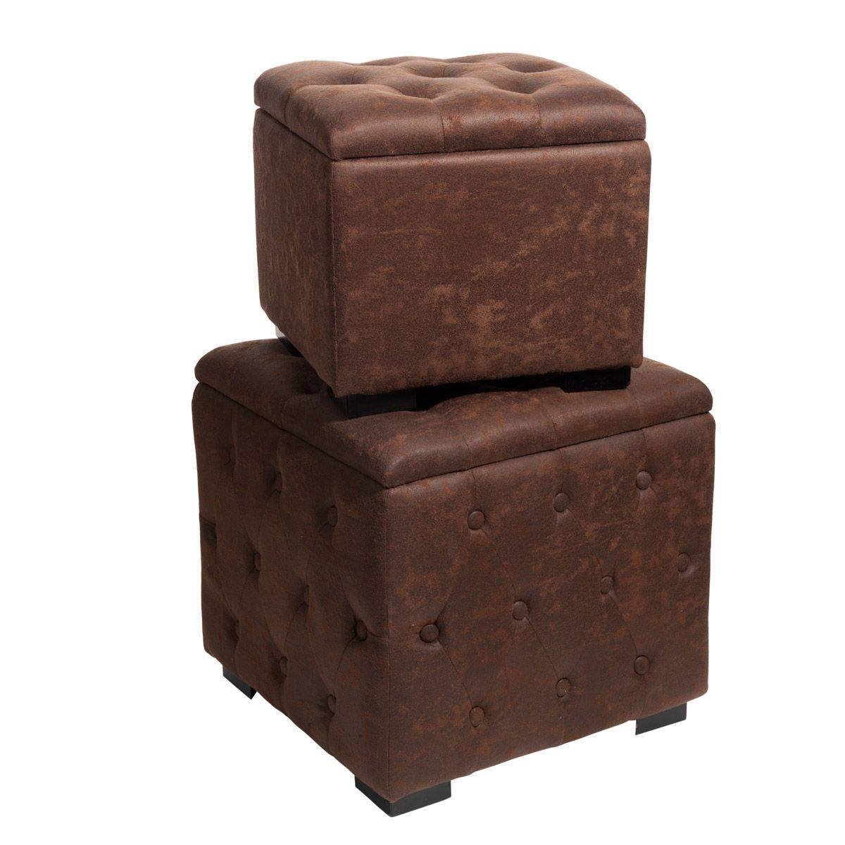 assortiment de 2 poufs coffres vintage compo salon base. Black Bedroom Furniture Sets. Home Design Ideas