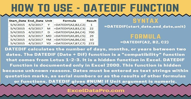 How To Use DATEDIF Function Microsoft Excel Functions Pinterest