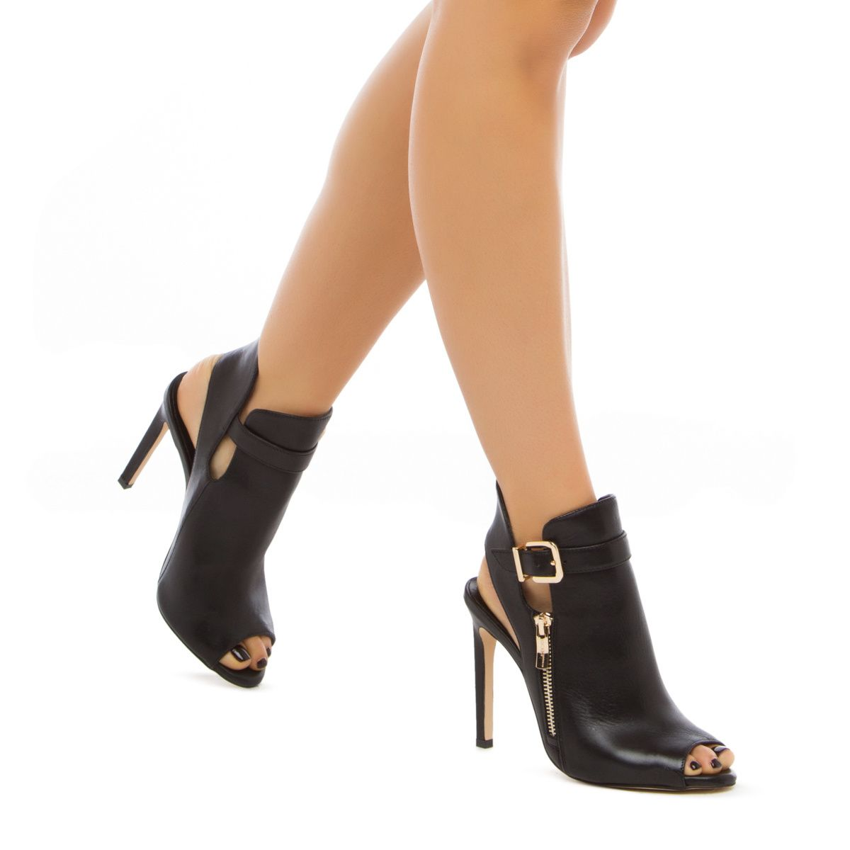 Chandler - ShoeDazzle Genuine-leather Chandler by BCBGENERATION is a wear-anywhere peep-toe bootie with an open back silhouette and the perfect amount of hardware.